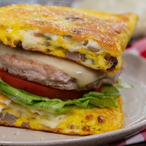 10 Minute Keto Omelette Cheeseburgers Recipe