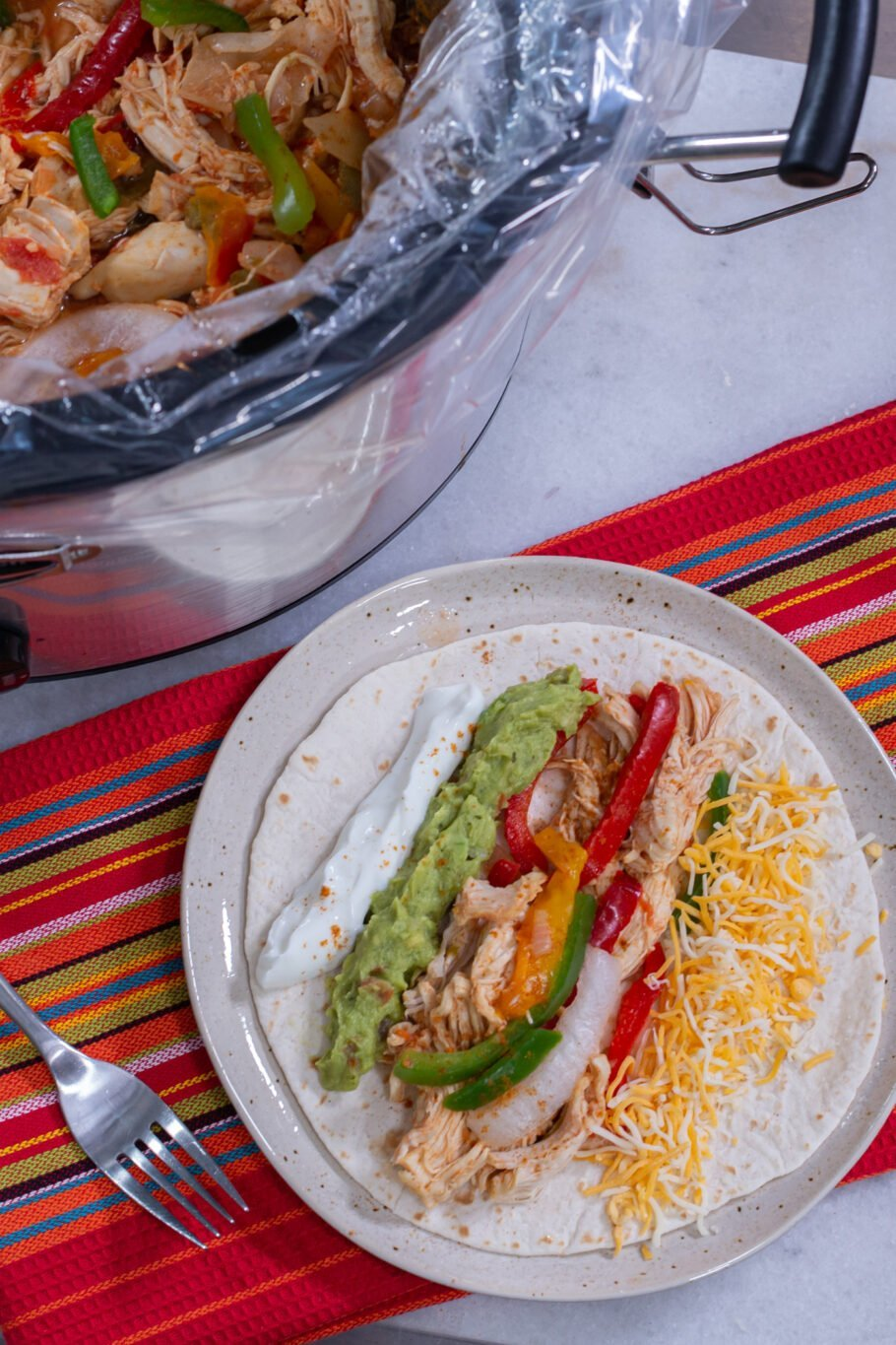 Low Carb Slow Cooker Chicken Fajitas Above