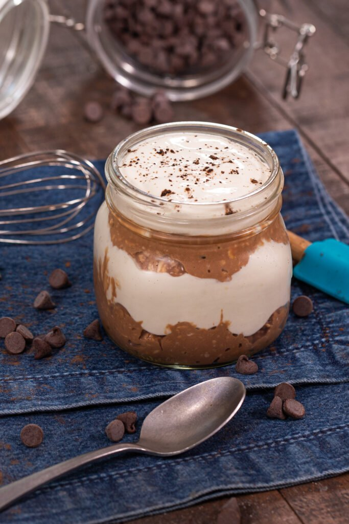 No Bake Layered Chocolate Protein Dessert Recipe